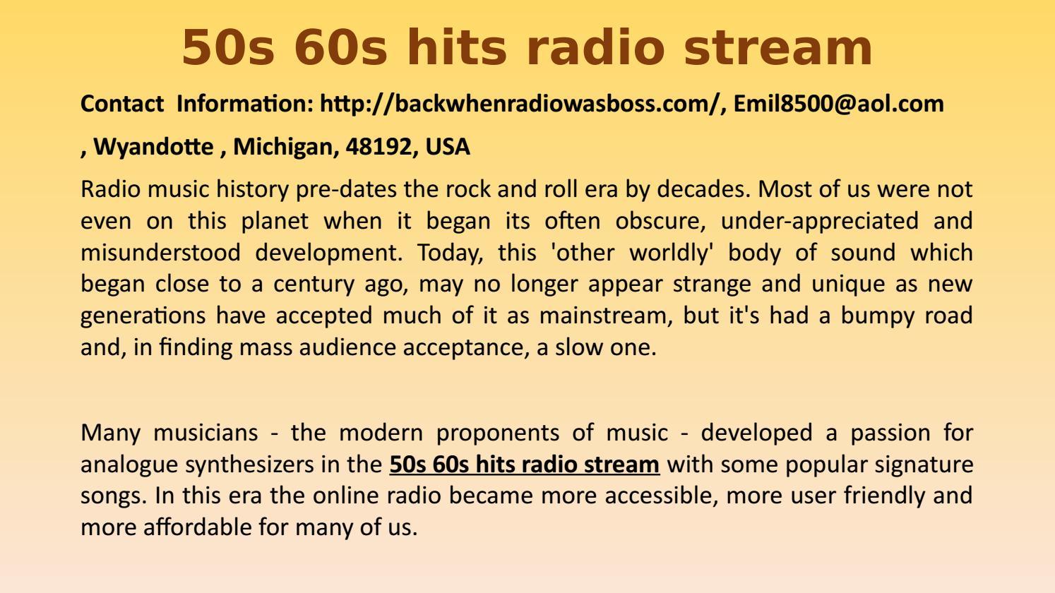 50s 60s hits radio stream by Emilkovach - issuu