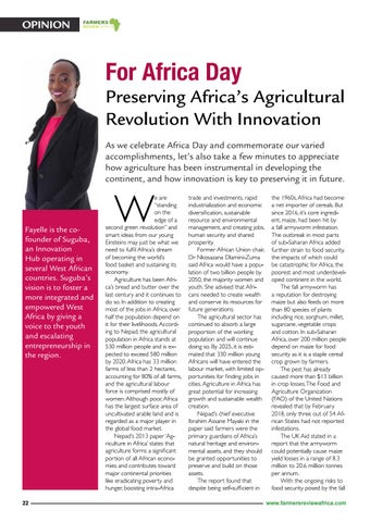 """Page 24 of Op-Ed : Preserving Africa's Agricultural Revolution With Innovation"""" by Fayelle Ouane"""