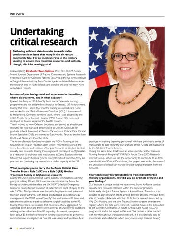 Page 46 of Interview: Colonel (Ret.) Elizabeth Mann-Salinas, PhD, RN, FCCM, Senior Nurse Scientist at the US Army Institute of Surgical Research Army Burn Center