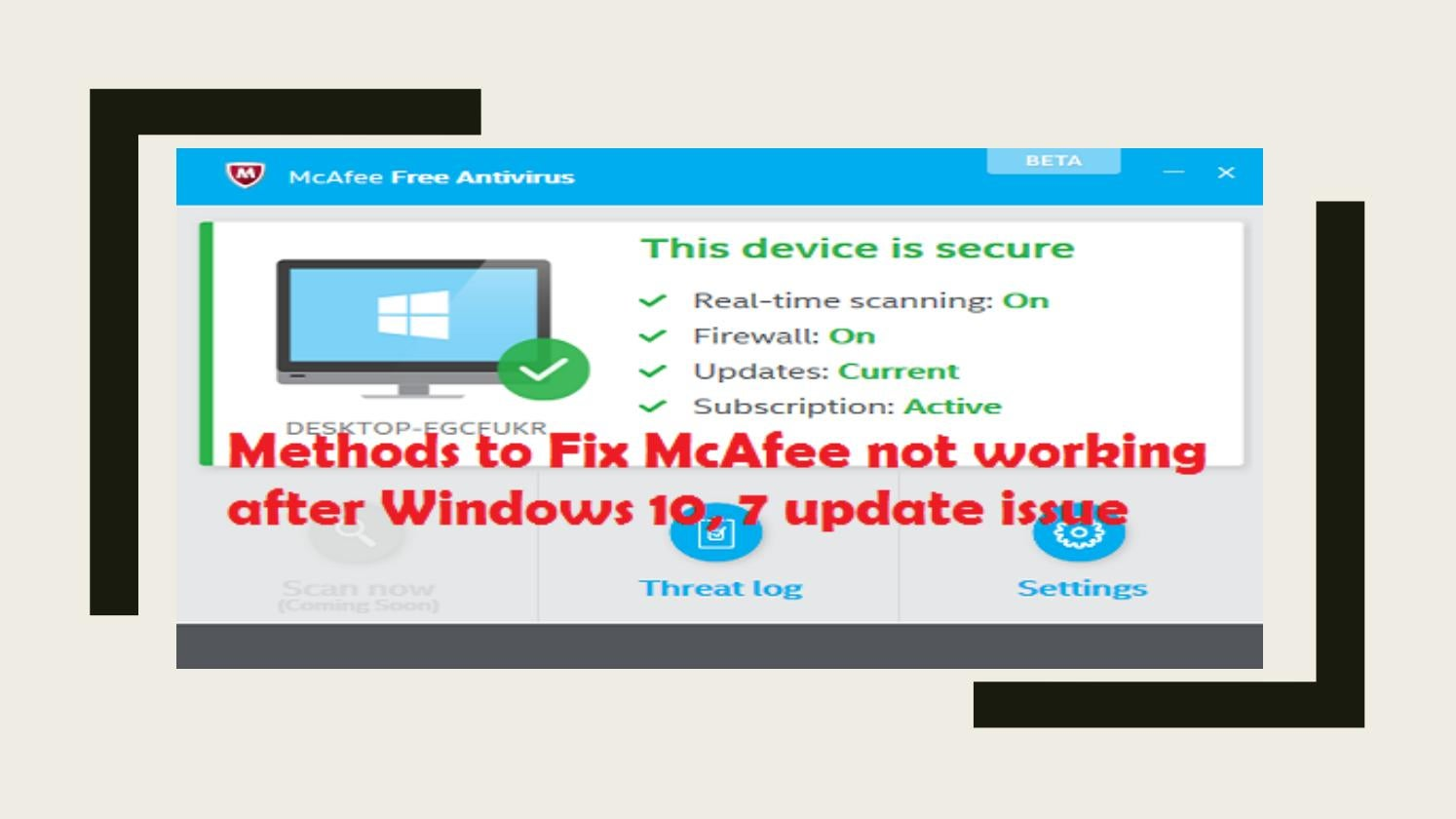 18005837461 | Fix McAfee not working after Windows 10, 7