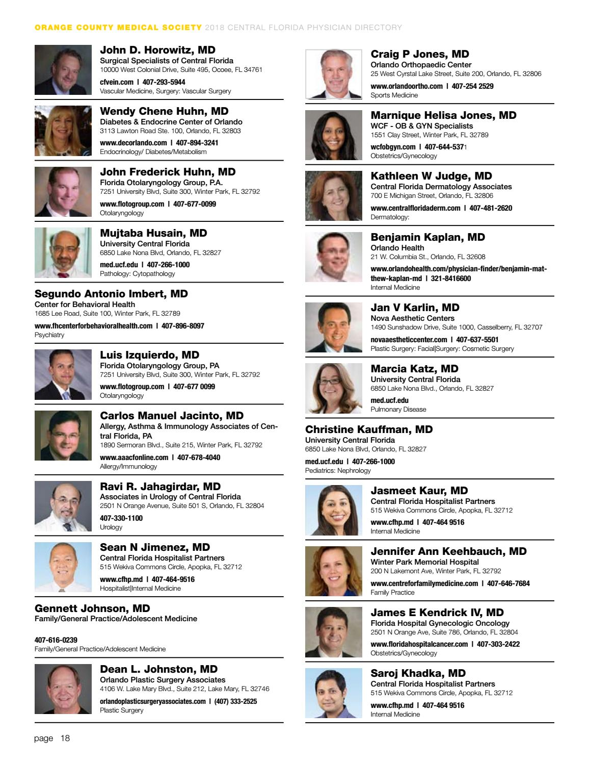 2018 Central Florida Physician Directory by Orlando Medical News - issuu