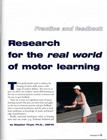 Page 25 of Research for the· real world of motor learning