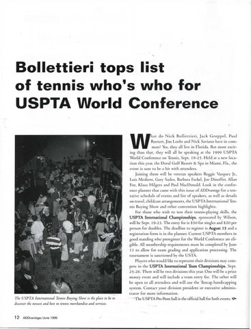 Page 14 of Bollettieri tops list of tennis who's who for USPTA World Conference