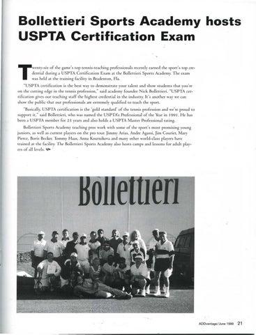 Page 23 of Bollettieri Sports Academy hosts USPTA Certification Exam