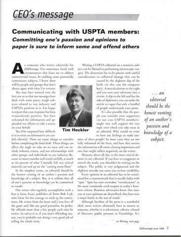 Page 9 of Communicating with USPTA members: Committing one's passion and opinions to paper is sure to inform some and offend others