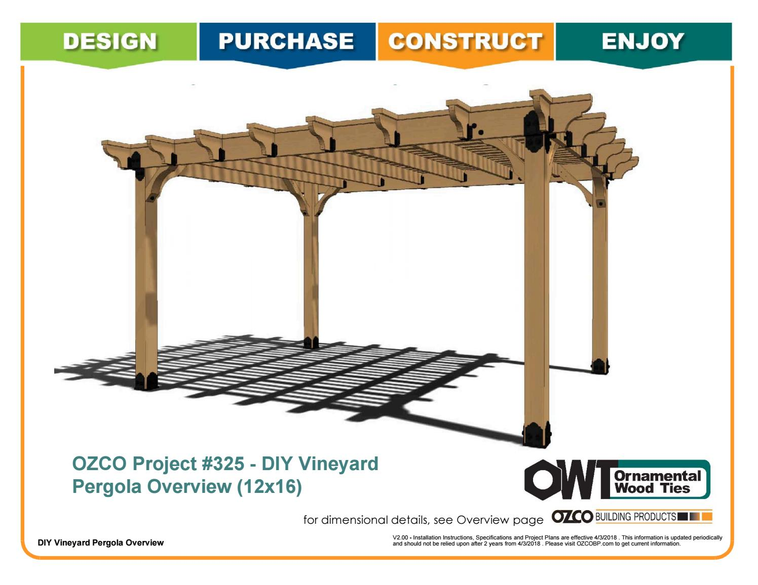 Ozco Project 325 12x16 Vineyard Pergola By Ozco