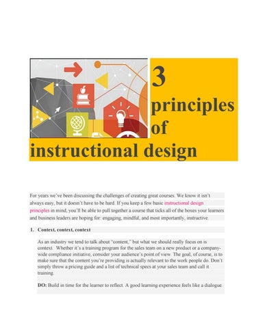 3 Principles Of Instructional Design By Nadia Serhani Issuu