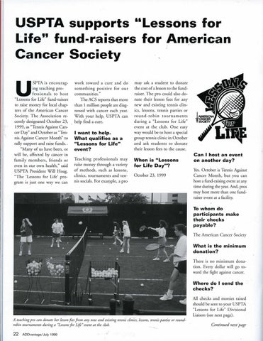 Page 24 of USPTA supports ''Lessons for Life'' fund-raisers for American Cancer Society