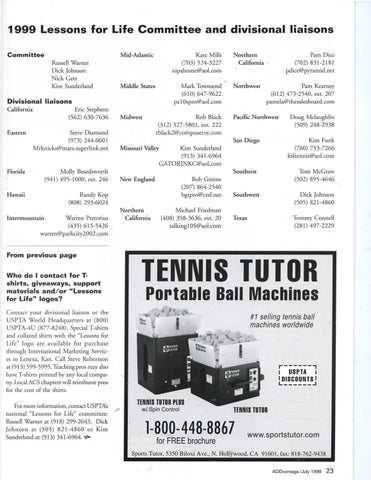 Page 25 of USPTA supports ''Lessons for Life'' fund-raisers for American Cancer Society