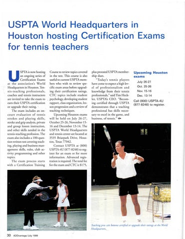 Page 32 of USPTA World Headquarters in Houston hosting Certification, Exams for tennis teachers