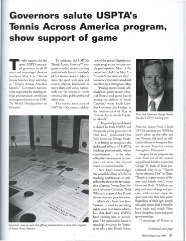 Page 33 of Governors salute USPTA's Tennis Across America program, show support of game