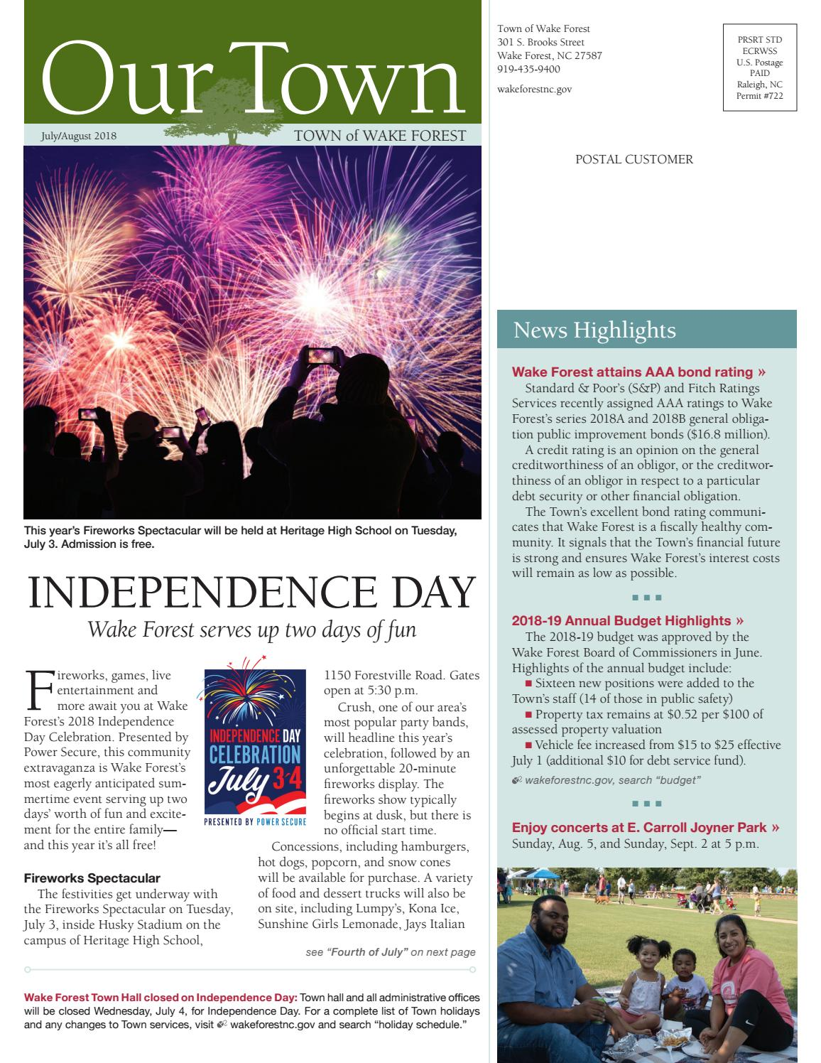 Our Town: JulyAug 2018 by Town of Wake Forest issuu