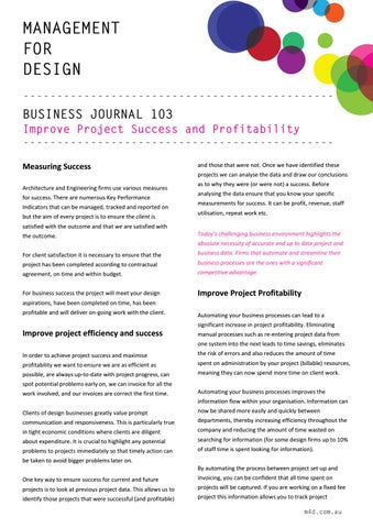 Page 11 of M4D Business Journal 103 Improve Project Success