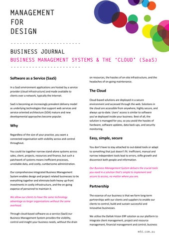 Page 1 of M4D Business Journal 101 BMS and SaaS current
