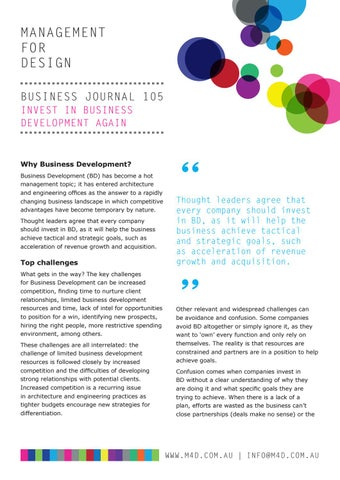 Page 20 of M4D Business Journal 105 Invest in Business Development Again