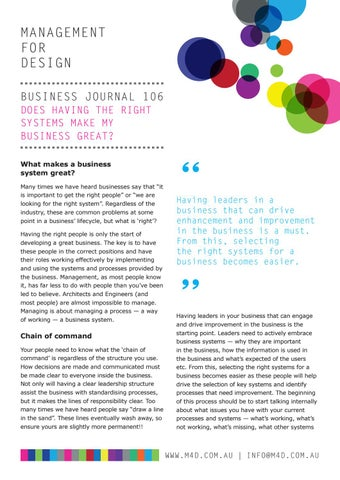 Page 22 of M4D Business Journal 106 Does having the right systems make my business great