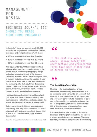 Page 41 of M4D Business Journal 112 Should you merge your practice Part 1