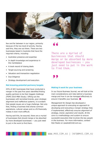 Page 44 of M4D Business Journal 113 Should you merge your practice Part 2