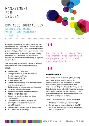 Page 45 of M4D Business Journal 113 Should you merge your practice Part 2