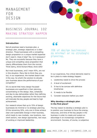 Page 6 of M4D Business Journal 102 Making Strategy Happen