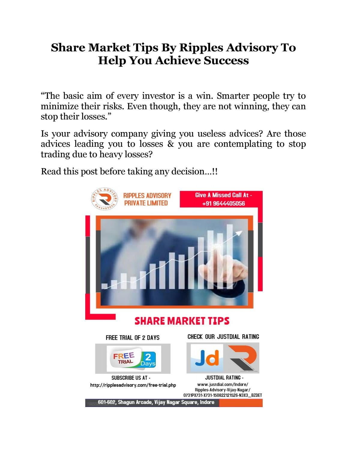 Ripples Advisory | Stock Market Tips | Commodity Market Tips