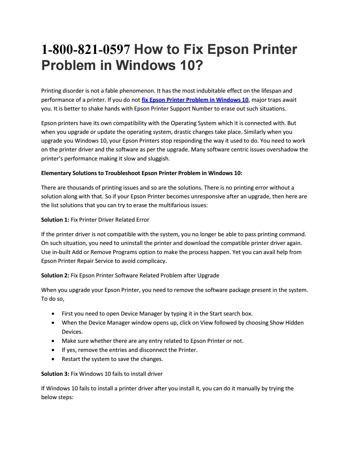 1-800-821-0597 How to Fix Epson Printer Problem in Windows