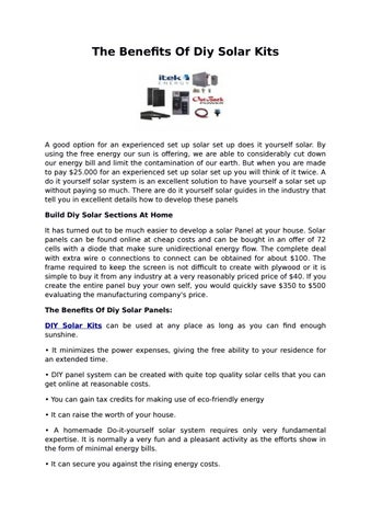The benefits of diy solar kits by sozi allen issuu page 1 the benefits of diy solar kits solutioingenieria Images