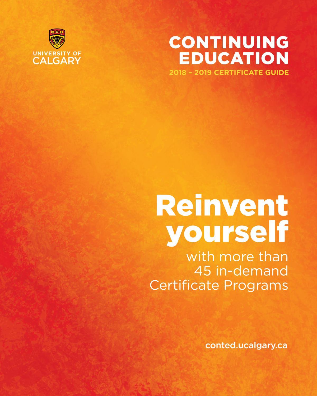 University Of Calgary Continuing Education Certificate Programs 2018