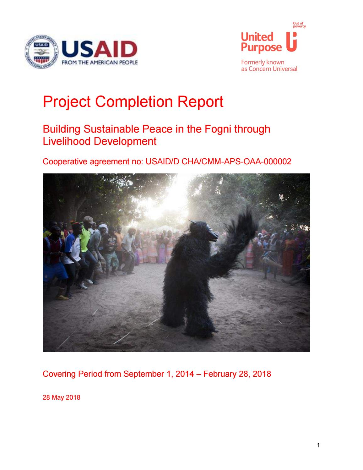 Building sustainable peace in the fogni through livelihood development completion report by united purpose gambia senegal guinea bissau cameroon country