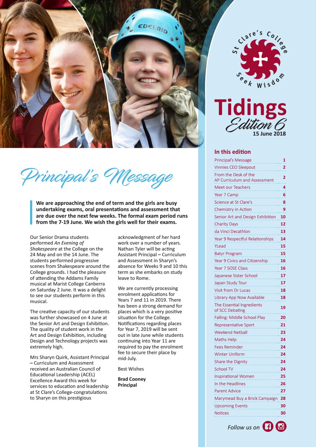 tidings edition 6 2018 by st clares college canberra issuu