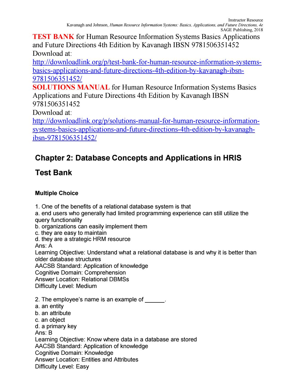 Test Bank For Human Resource Information Systems Basics
