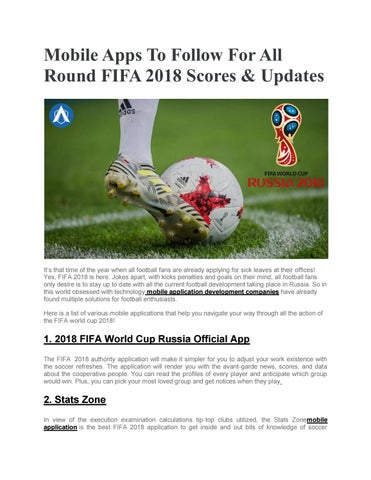 Mobile apps to follow for all round fifa 2018 scores by