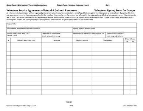 Fs Nvc Volunteer Service Agreement By Northwoods Volunteer