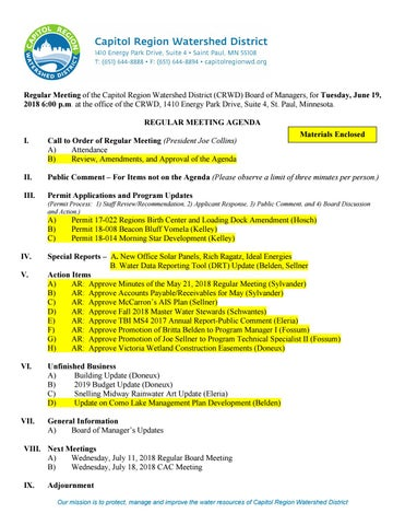 June 19 Board Packet By Capitol Region Watershed District