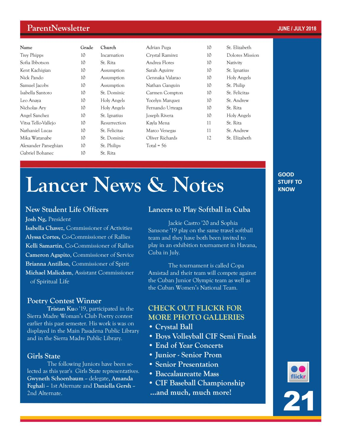 June July 2018 ParentNewsletter By La Salle College Preparatory