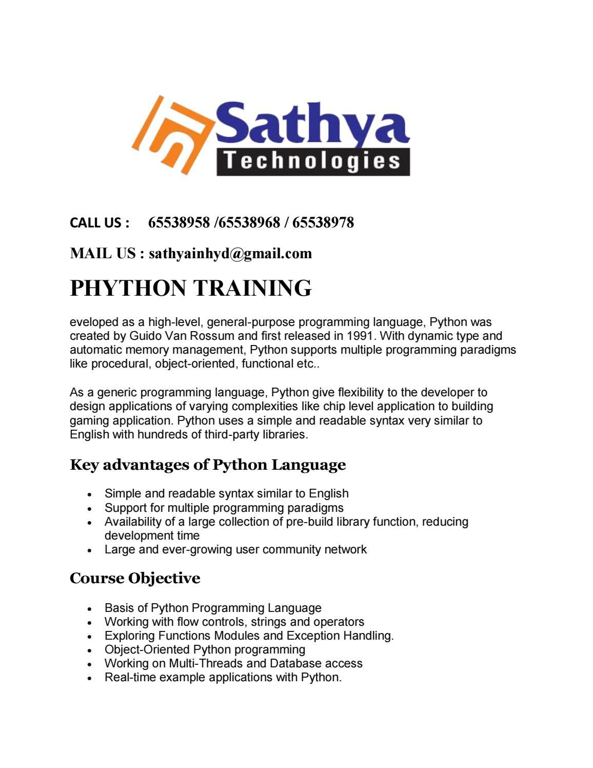 Phython pdf by sathyatech - issuu