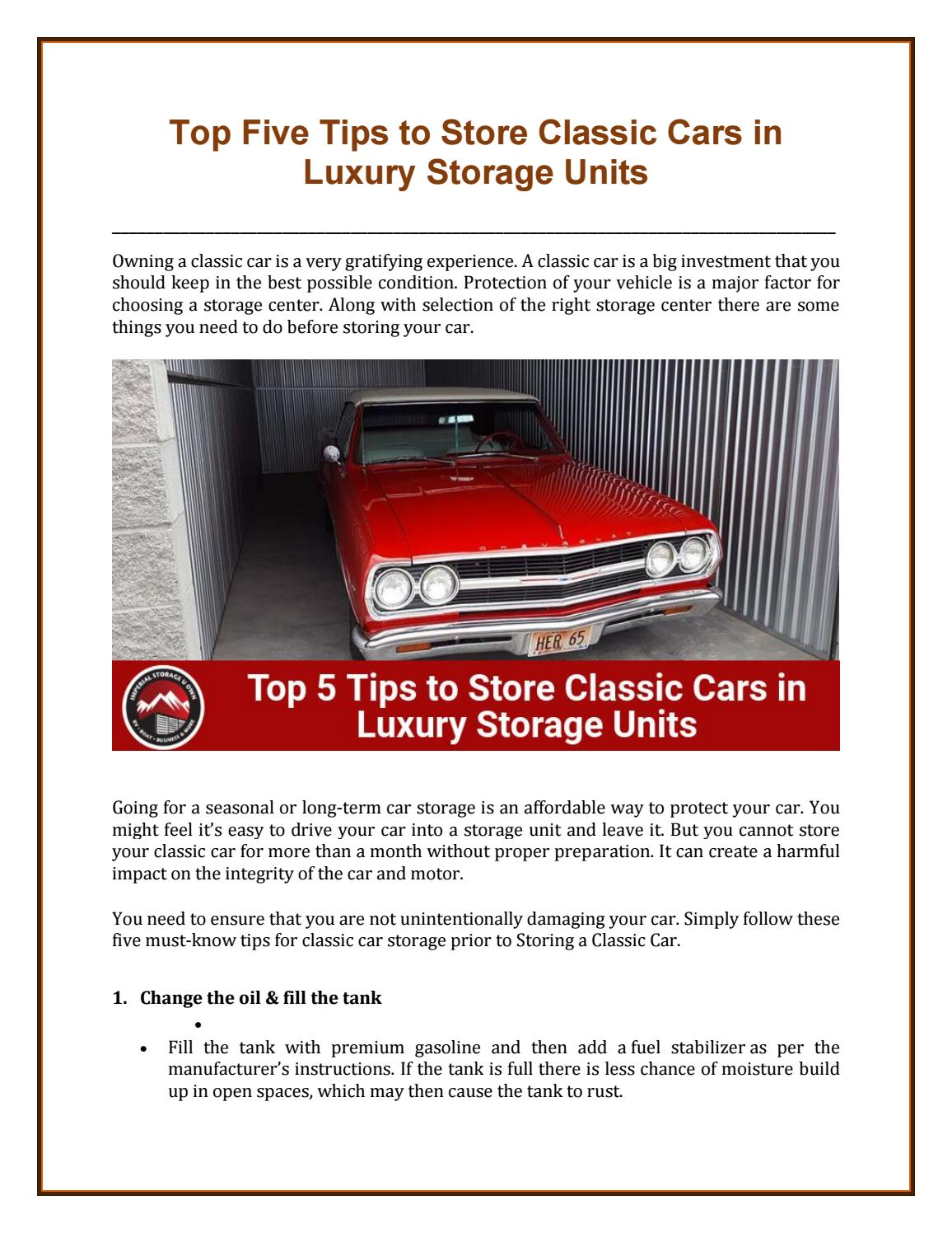 Top Five Tips to Store Classic Cars in Luxury Storage Units