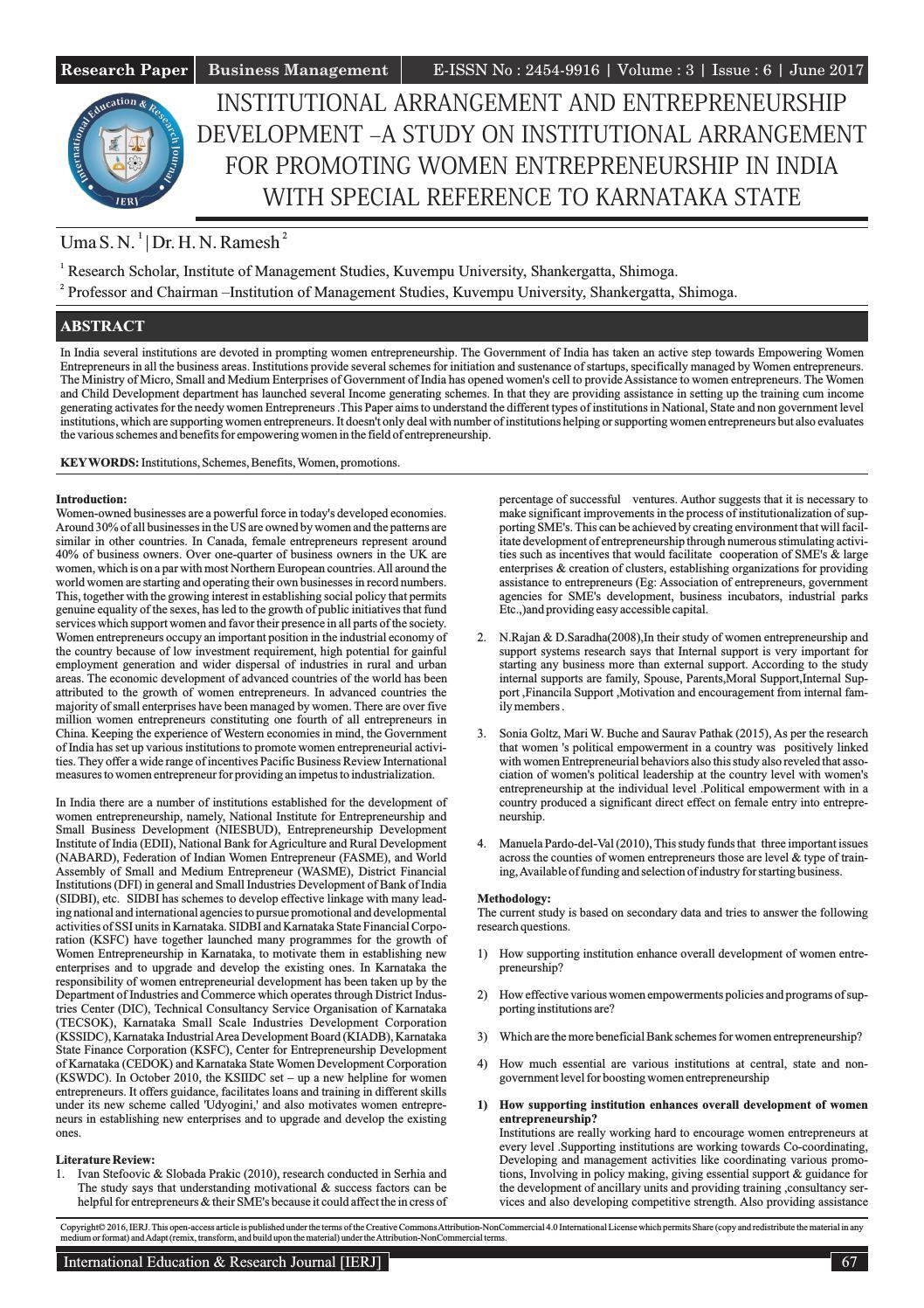 institutional arrangement and entrepreneurship development