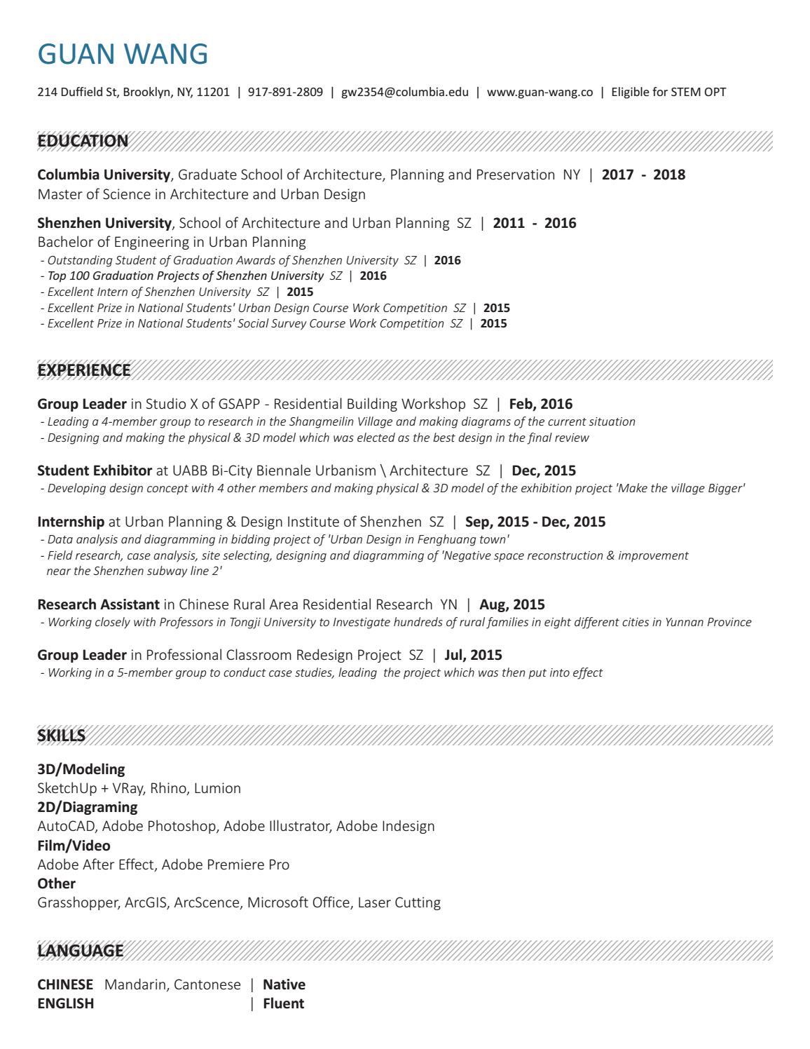 Resume of guan wang by Guan Wang - issuu