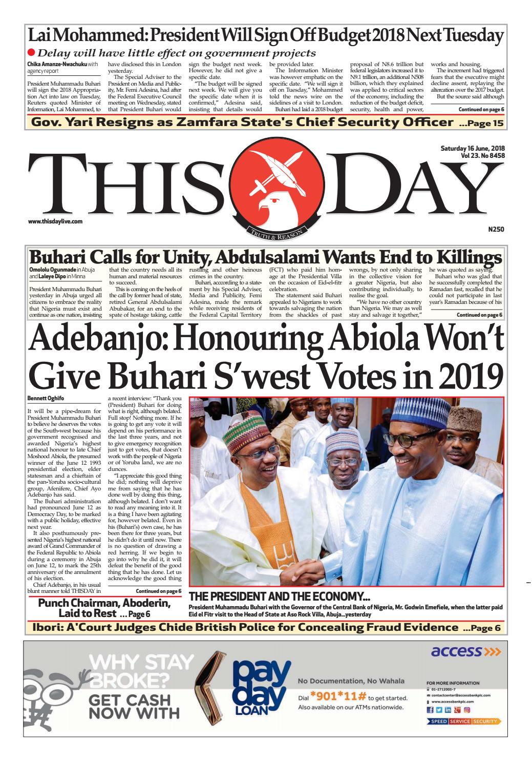 pretty nice 9c210 b4d66 Saturday 16TH June 2018 by THISDAY Newspapers Ltd - issuu