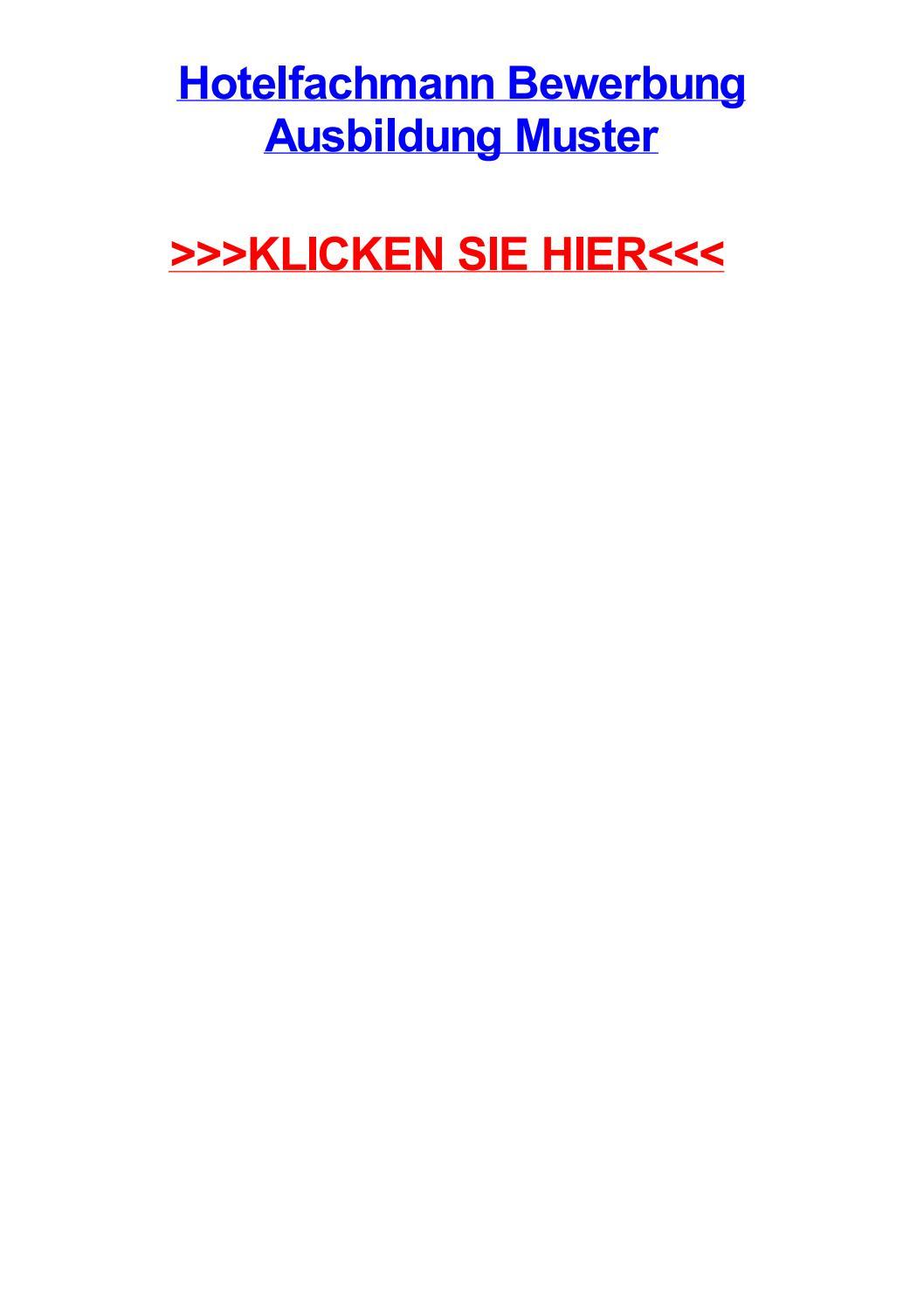 Hotelfachmann Bewerbung Ausbildung Muster By Earlkojf Issuu