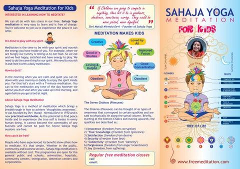 3 Fold Kids Meditation Leaflet 2018 By Sahaja Yoga Meditation Issuu