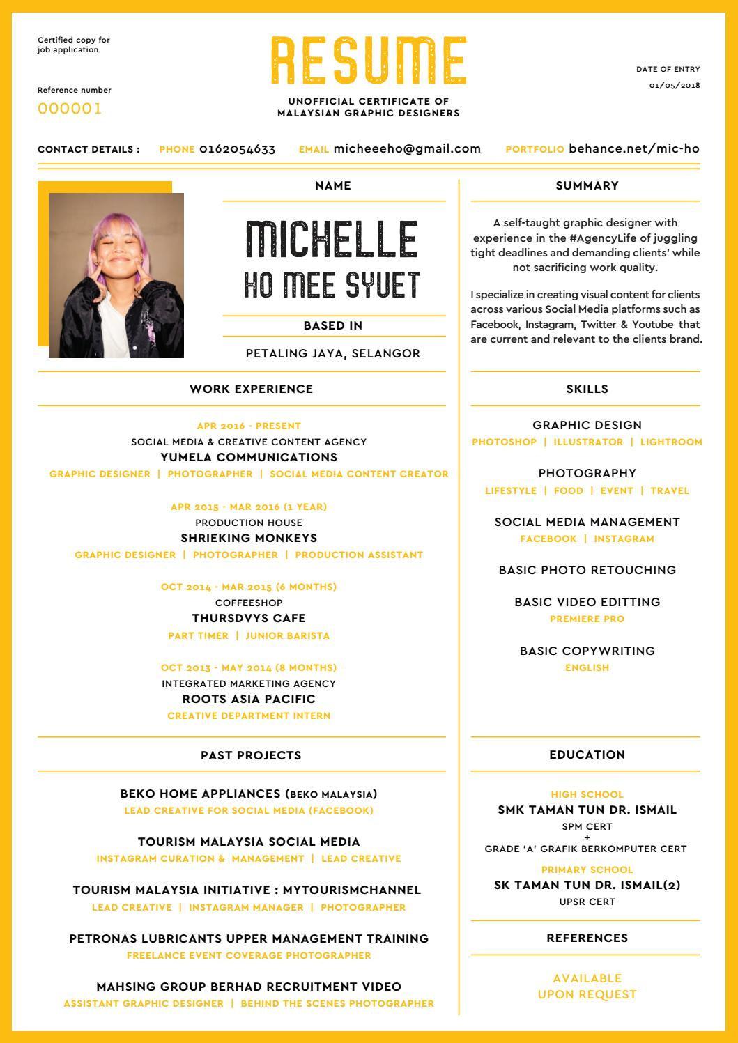 Michelle Ho Graphic Designer Resume 2018 By Micheeeho Issuu