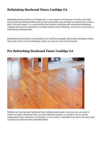 Refinishing Hardwood Floors Coolidge Ga