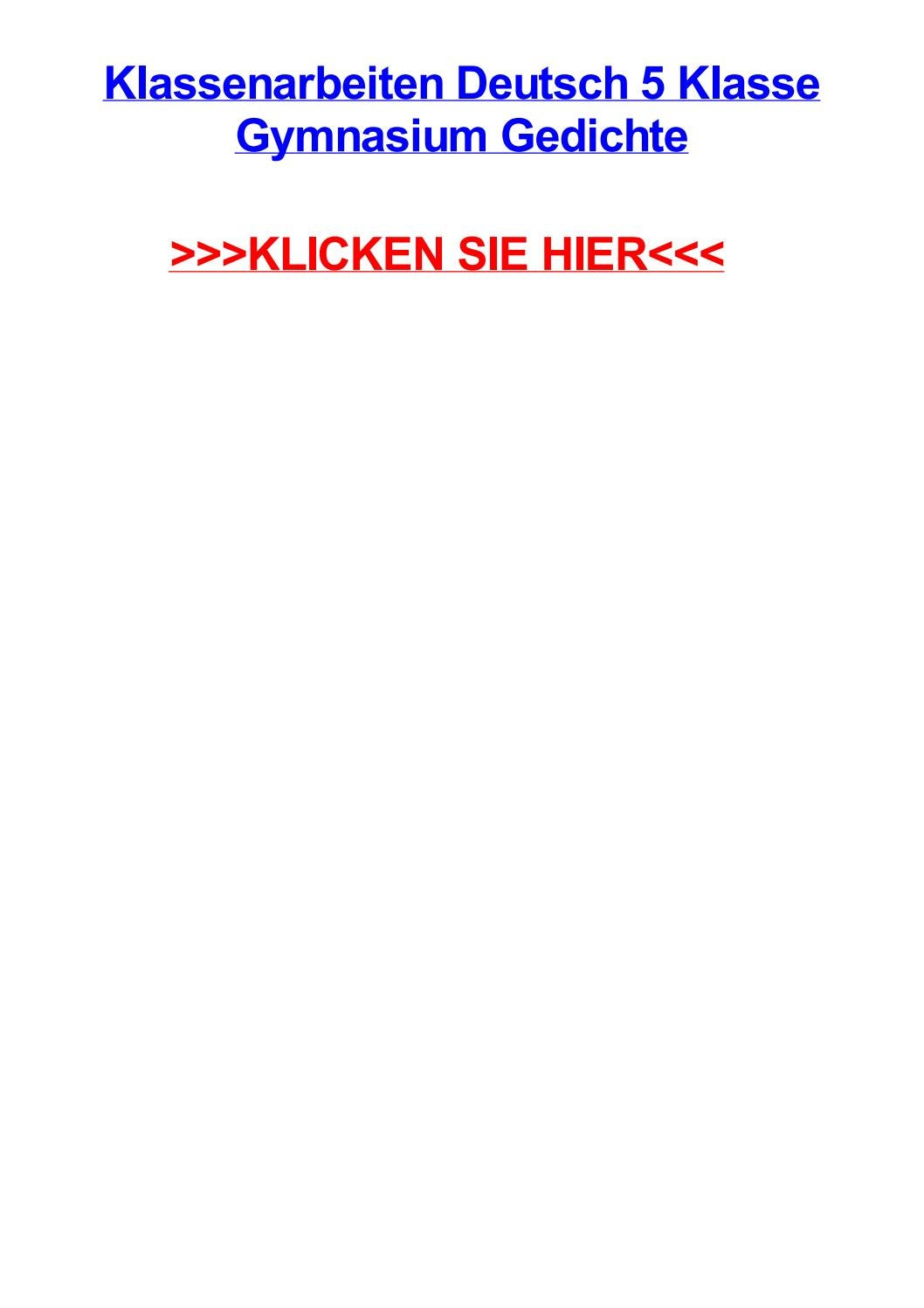 Klassenarbeiten Deutsch 5 Klasse Gymnasium Gedichte By