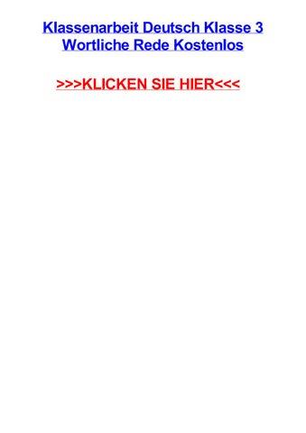 Klassenarbeit Deutsch Klasse 3 Wortliche Rede Kostenlos By