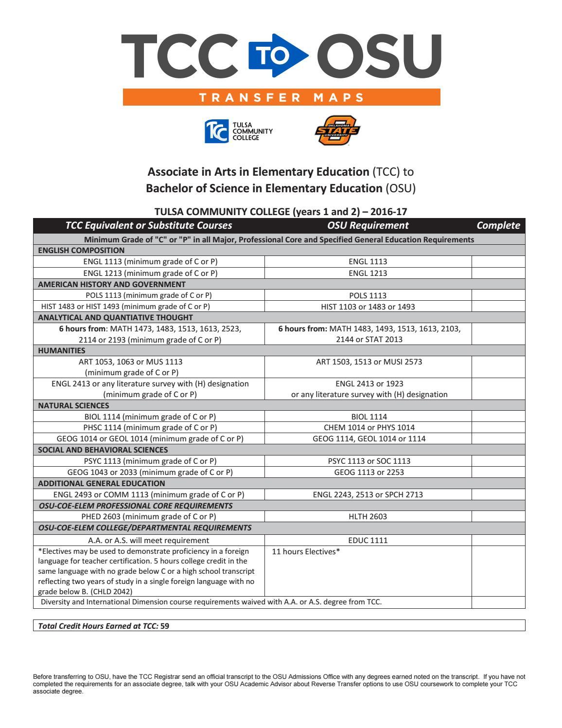 Academic Calendar Osu.Tcc To Osu Elementary Education 2016 17 Course Transfer Map By