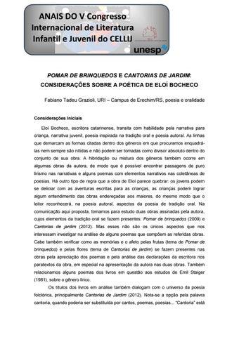 5b107be4a POMAR DE BRINQUEDO E CANTORIAS DE JARDIM  CONSIDERAÇÕES SOBRE A POÉTICA DE  ELOÍ BOCHECO