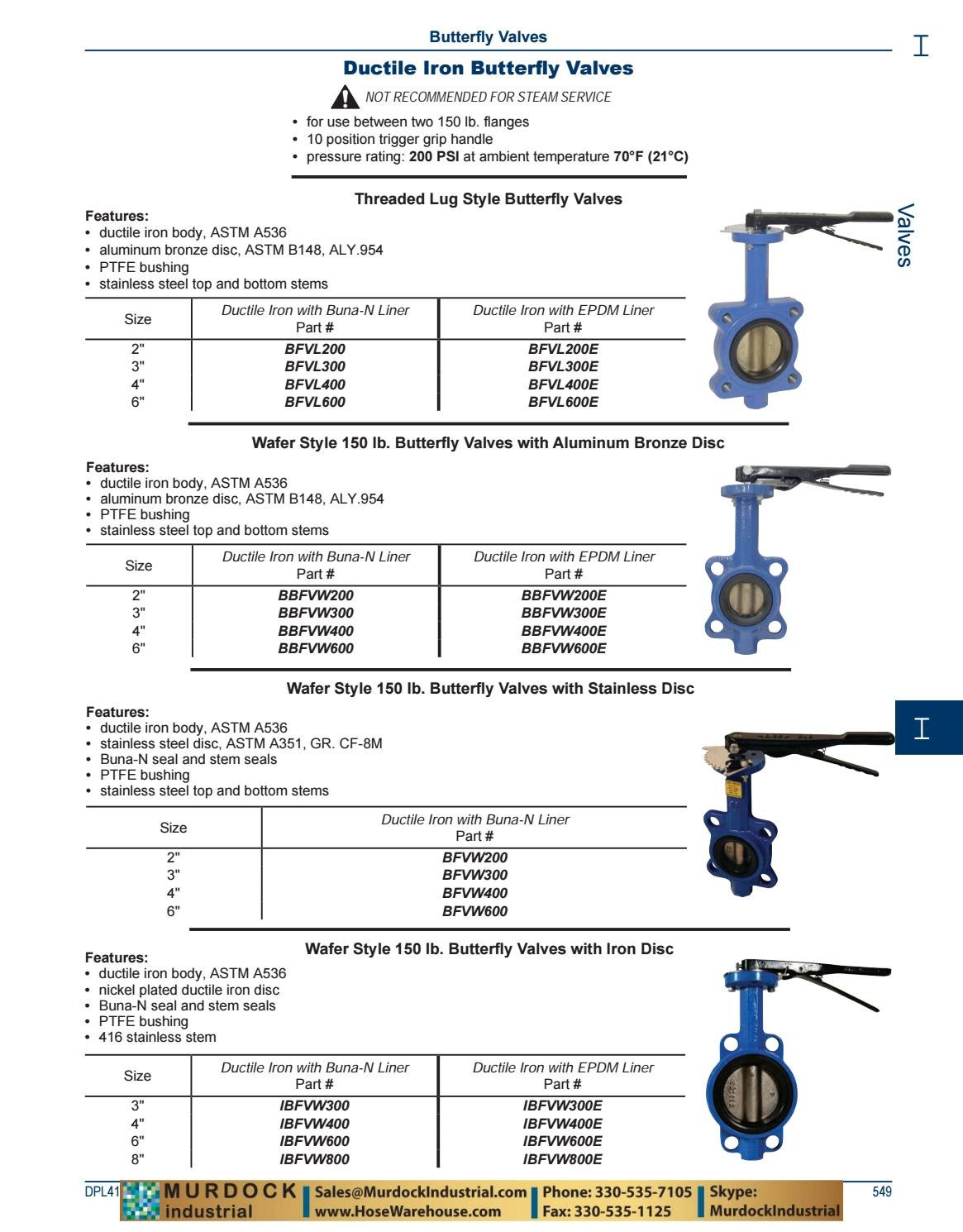 2 Wafer Style Butterfly Valve W//Buna Seals and 10 Position Handle