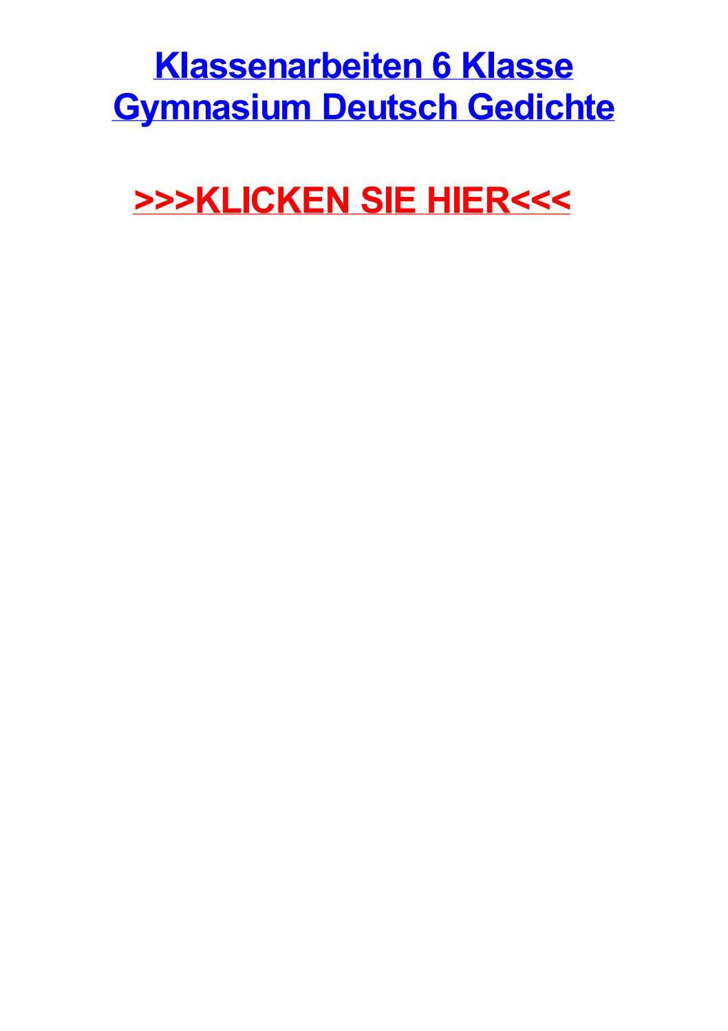 Klassenarbeiten 6 Klasse Gymnasium Deutsch Gedichte By